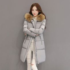 AiSun - Furry Trim Long Padded Coat