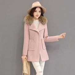 AiSun - Furry Trim Long Woolen Coat
