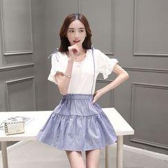 Poesia - Set: Frilled Short-Sleeve Top + A-Line Jumper Skirt