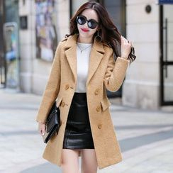 AiSun - Notch Lapel Double Breasted Long Woolen Coat