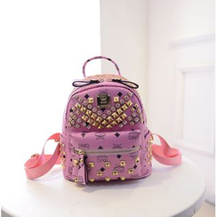 Bag Affair - Studded Faux Leather Backpack