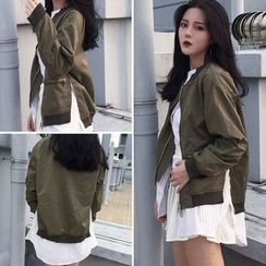 Melon Juice - Mock Two-piece Slit Baseball Jacket