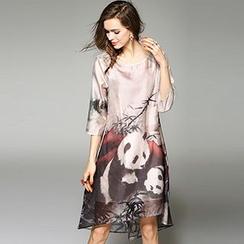 Queen Mulock - Set: 3/4-Sleeve Printed Dress + Camisole
