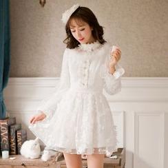 Candy Rain - Long-Sleeve Lace Panel A-Line Dress