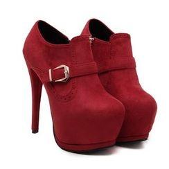 安若 - 扣帶高跟厚底及踝靴