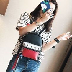 IDEAWIN - Studded Color Block Faux Leather Backpack