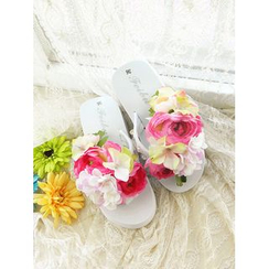 Trava - Floral Wedge Flip-Flops