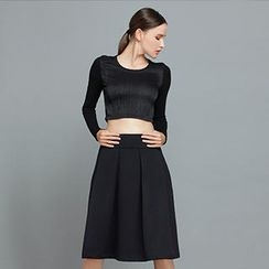 YiGelila - High-Waist Shirred Midi Skirt