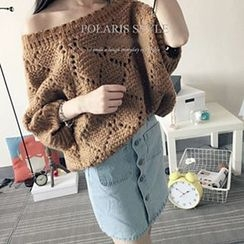 Polaris - Perforated Off-Shoulder Sweater