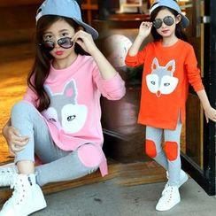 PAM - Kids Set: Fox Applique Pullover + Leggings