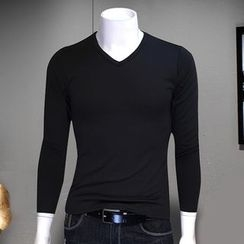 Telvi - Long-Sleeve V-Neck T-Shirt