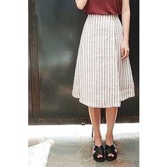 CHERRYKOKO - Pinstripe Midi Wrap Skirt