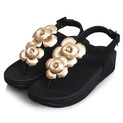 Creamy Blue - Floral Platform Sandals