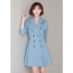 J-ANN - Frill-Trim Buttoned A-Line Dress
