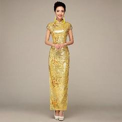 Posh Bride - Cap-Sleeve Glitter Cheongsam
