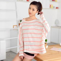 59 Seconds - Striped Batwing-Sleeve Knit Top