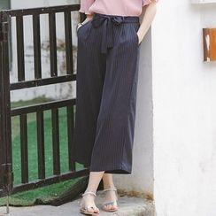 Dimosqisi - 條紋九分闊腿裙褲