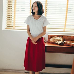 11.STREET - Set: Plain T-Shirt + Midi Skirt