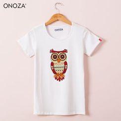 Onoza - 短袖猫头鹰印花T恤