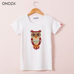 Onoza - Short-Sleeve Owl-Print T-Shirt