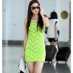 SO Central - Sleeveless Square Neckline Lace Dress