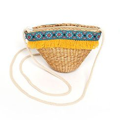 migunstyle - Embroidered-Detail Woven Crossbody Bag