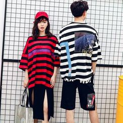 Azure - Couple Matching Striped 3/4 Sleeve T-Shirt / Asymmetric Shorts