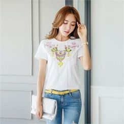 Styleonme - Round-Neck Sequined T-Shirt