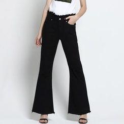 TYZEE - 欧美高档女装2017春季新款流苏边纯棉修身高腰黑色喇叭女式牛仔裤