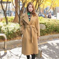 PPGIRL - Open-Front Wool Blend Handmade Coat With Sash