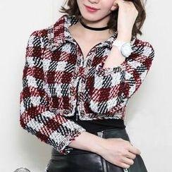 Yilda - Set: Plaid Jacket + Faux-Leather Skirt