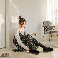 Seoul Fashion - Spaghetti-Strap Floral Pattern Long Dress