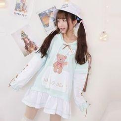 Moriville - Bear Print Hoodie Dress