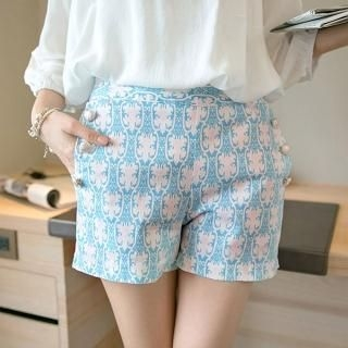 Tokyo Fashion - Button-Detail Patterned Shorts