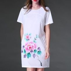 Mythmax - Short-Sleeve Floral Dress
