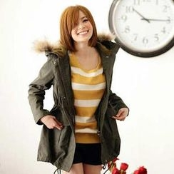 Tokyo Fashion - Faux-Fur Trim Hooded Parka