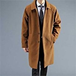 THE COVER - Collared Raglan-Sleeve Wool Blend Coat