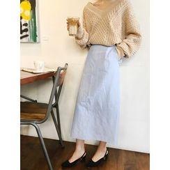 FROMBEGINNING - Slit-Back Maxi Skirt