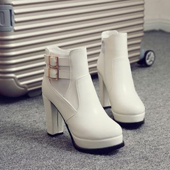 Pastel Pairs - Chunky Heel Platform Ankle Boots