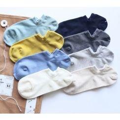 櫻桃兔兔 - 純色扣踝帶襪