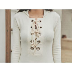 UUZONE - Hooded Long Sleeve Lace-Up Top
