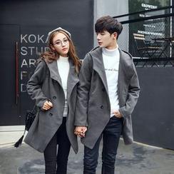 ZONZO - Couple Matching Hooded Long Woolen Coat