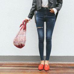 DABAGIRL - Fray-Hem Slit Washed Skinny Jeans