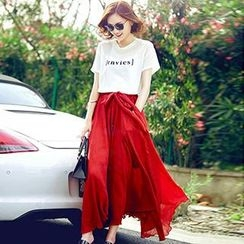 Romantica - Set: Short-Sleeve Lettering T-Shirt + Maxi Skirt