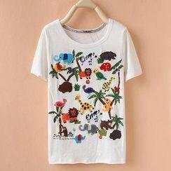 Cute Colors - Short-Sleeve Animal Appliqué T-Shirt