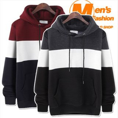 WIZIKOREA - Color-Block Hooded Pullover