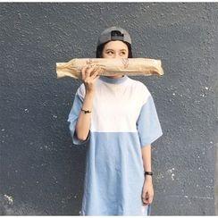 YOSH - Elbow-Sleeve Color Block T-Shirt Dress