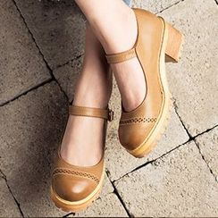 MIAOLV - Block Heel Buckled Shoes