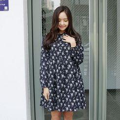 Envy Look - Mandarin-Collar A-Line Dress