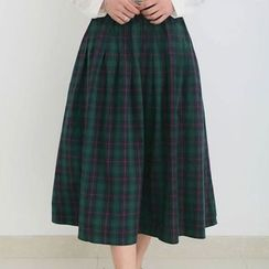 Tangi - Plaid Midi Skirt